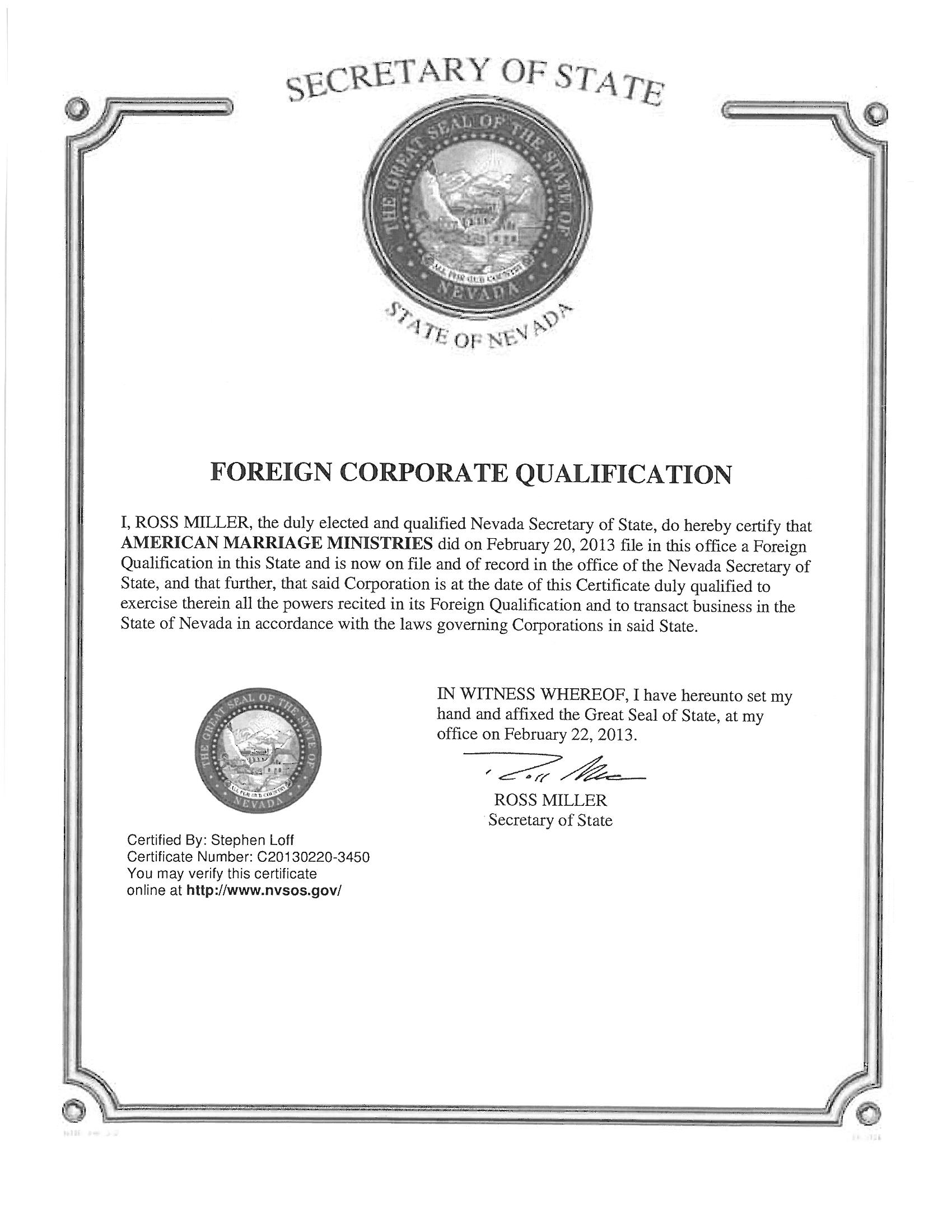 American Marriage Ministries Nevada Foreign Corporate Certificate